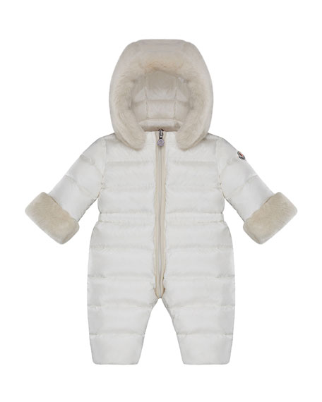 Moncler Ardisie Quilted Puffer Bunting w/ Faux Fur