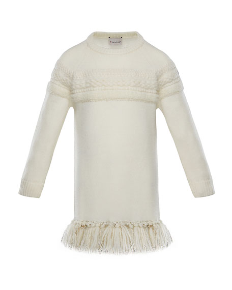 Moncler Mixed-Knit Sweater Dress w/ Metallic Tassel Hem,