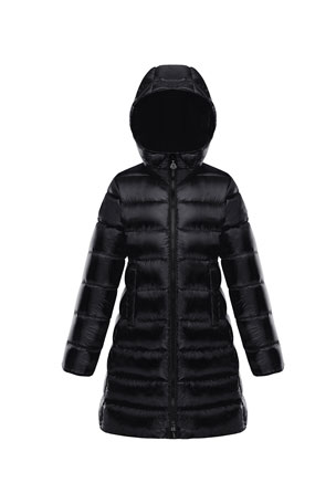 Moncler Suyen Hooded Long Puffer Coat, Sizes 4-6