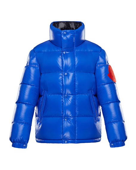 Moncler Dervaux Stand-Collar Quilted Jacket w/ Contrast Logo,