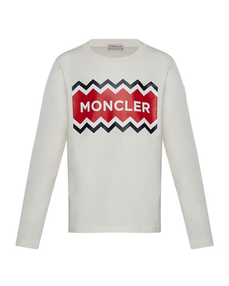 Moncler Long-Sleeve Logo Graphic T-Shirt, Size 4-6