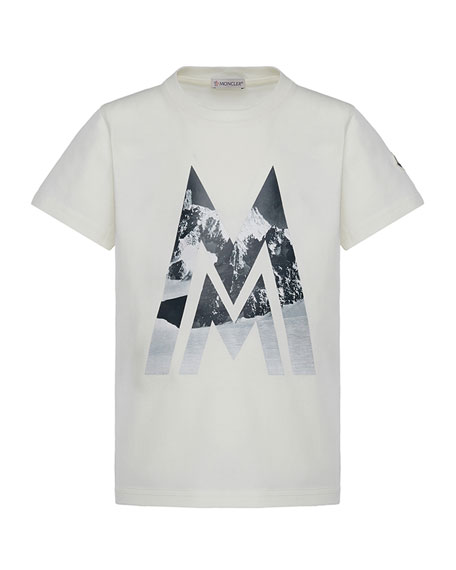Moncler Short-Sleeve Knit Mountains & Logo Graphic T-Shirt,