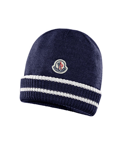 Moncler Kids' Virgin Wool Striped-Cuff Beanie Hat