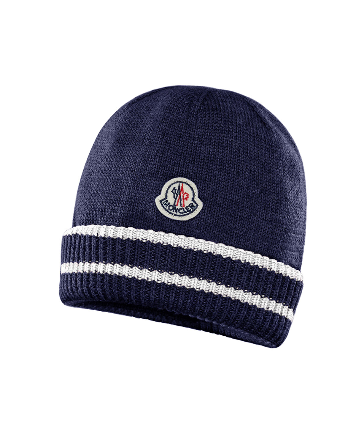 Moncler Kids  Virgin Wool Striped-Cuff Beanie Hat  880c98e241c