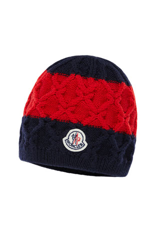 Moncler Kids' Two-Tone Diamond-Knit Virgin Wool Beanie Hat