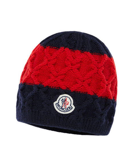 Kids' Two-Tone Diamond-Knit Virgin Wool Beanie Hat
