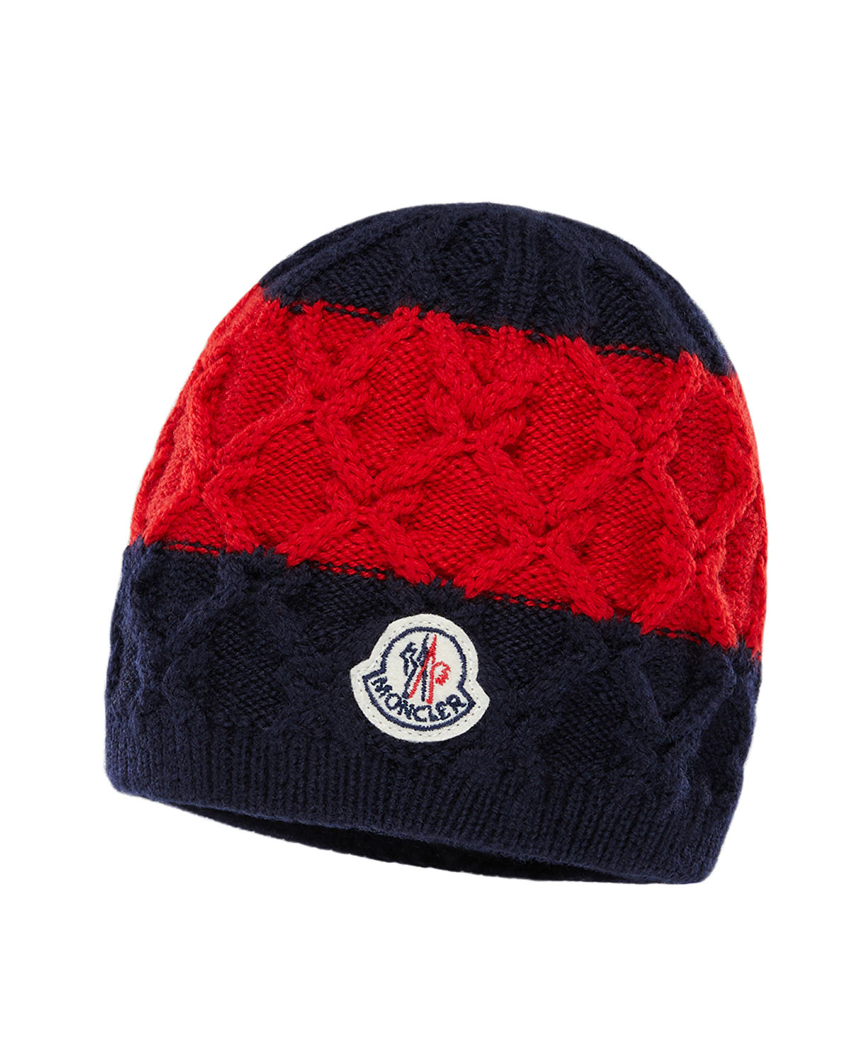 e0731b0b7ba Moncler Kids  Two-Tone Diamond-Knit Virgin Wool Beanie Hat