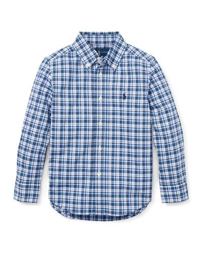 Long-Sleeve Plaid Button-Down Shirt, Size 2-4