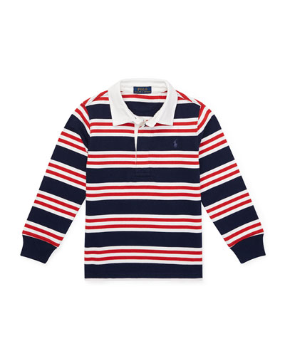 Long-Sleeve Striped Rugby Top, Size 2-4
