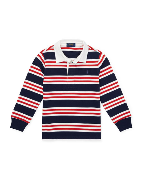 Ralph Lauren Childrenswear Long-Sleeve Striped Rugby Top, Size