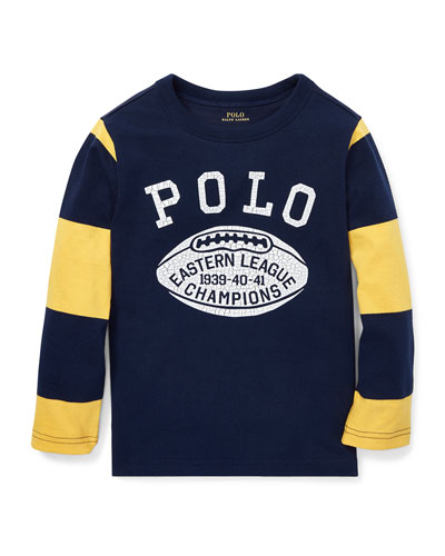 Polo Football Striped-Sleeves T-Shirt, Size 2-4