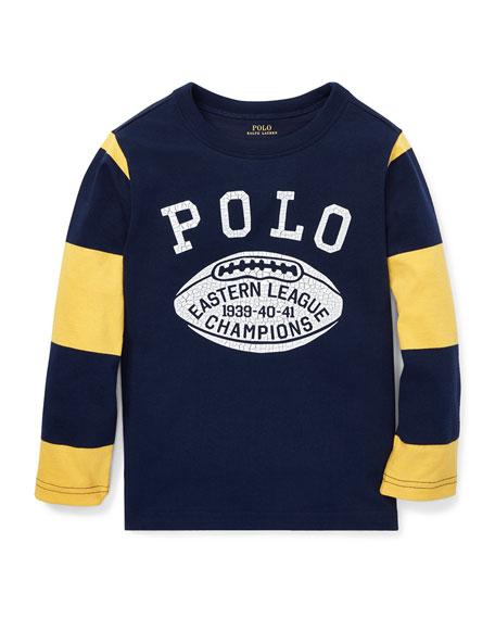 Ralph Lauren Childrenswear Polo Football Striped-Sleeves T-Shirt,