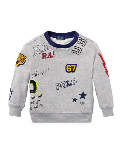 Logo Patches Sweatshirt, Size 2-4