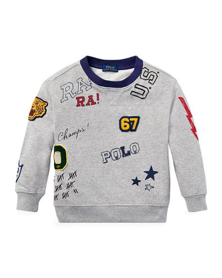 Ralph Lauren Childrenswear Logo Patches Sweatshirt, Size 2-4