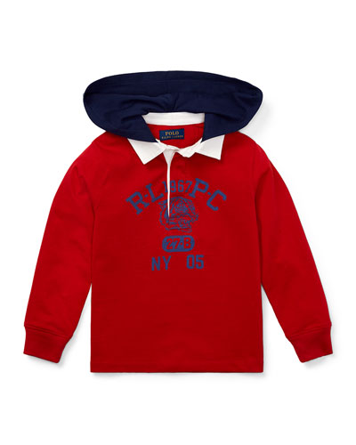 Hooded Knit Rugby Top, Size 2-4