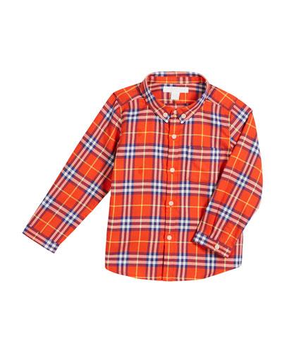Fred Check Button-Down Shirt, Size 12M-3