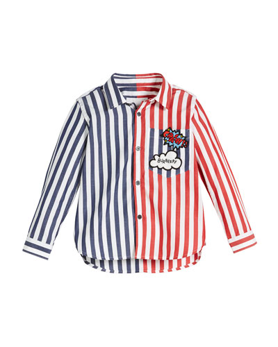 Fred Colorblock Stripe Button-Down Shirt, Size 4-14