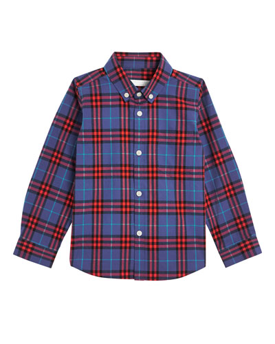 Fred Check Button-Down Shirt, Size 4-14