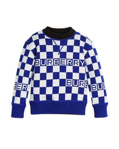 Paul Racecar Check Logo Sweater, Size 4-14