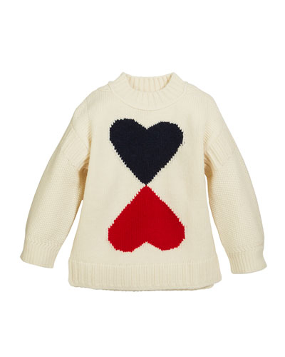 Double Heart Intarsia Sweater, Size 4-14