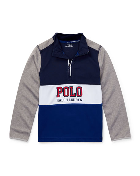 Ralph Lauren Childrenswear Colorblock Logo Half-Zip Knit Top,