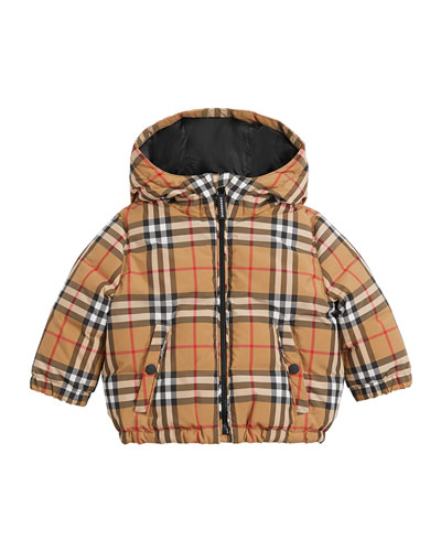 Rio Check Hooded Puffer Coat, Size 12M-3