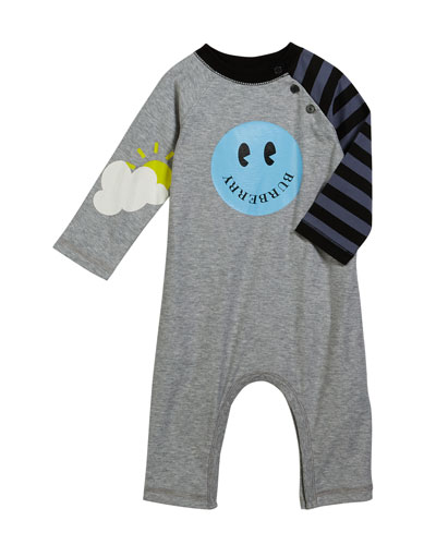 Smiley Coverall w/ Stripe Sleeve, Size 3-18 Months