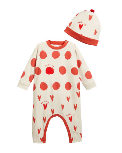 Hearts & Dots Footie Pajamas w/ Matching Hat, Size 6-18 Months