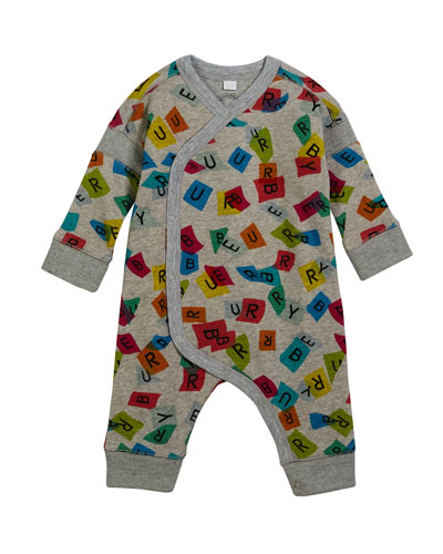 Confetti Logo-Print Coverall w/ Asymmetric Snap Front, Size 3-18 Months