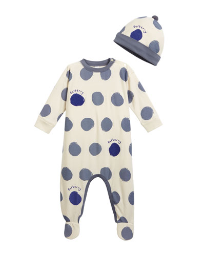 Hearts & Dots Footie Pajamas w/ Matching Hat, Size 3-18 Months