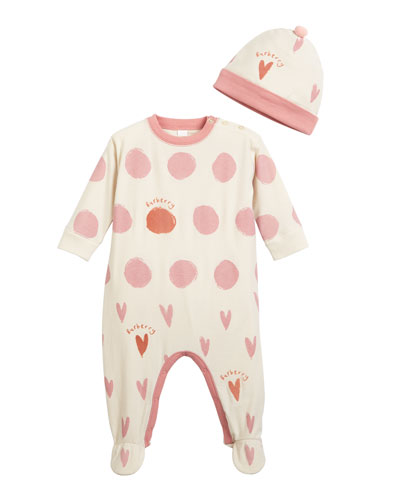Hearts & Dots Footie Pajamas w/ Matching Hat, Size 3-9 Months