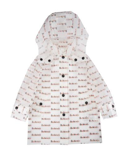 Bradley Clear Logo-Print Raincoat, Size 2-3