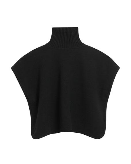 Beatric Turtleneck Wool Cape w/ Check Interior, Size M-L