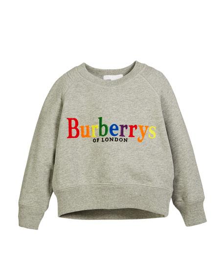Burberry Elin Rainbow Logo Embroidery Sweatshirt, Size 4-14