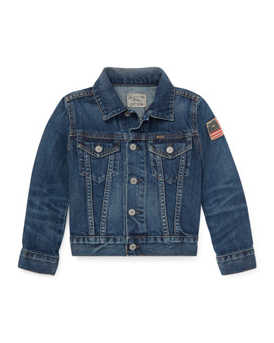 Denim Trucker Jacket, Size 2-4