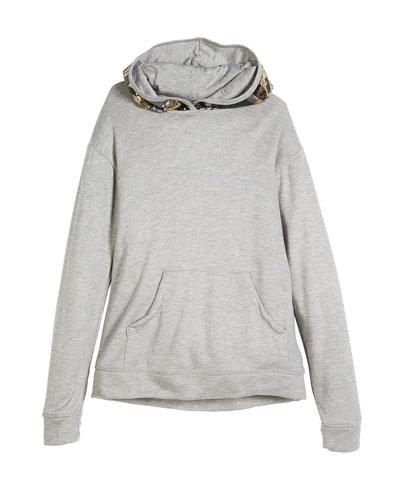 Sequin Camo Hood Sweatshirt, Size S-XL