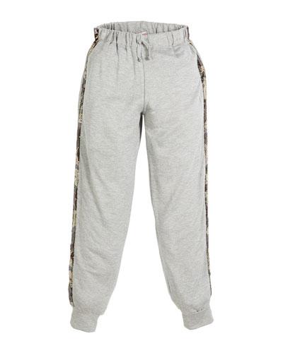Jogger Drawstring Pants w/ Sequin Camo Sides, Size S-XL