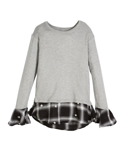 Heathered Sweater w/ Peek Out Plaid Detail, Size S-XL