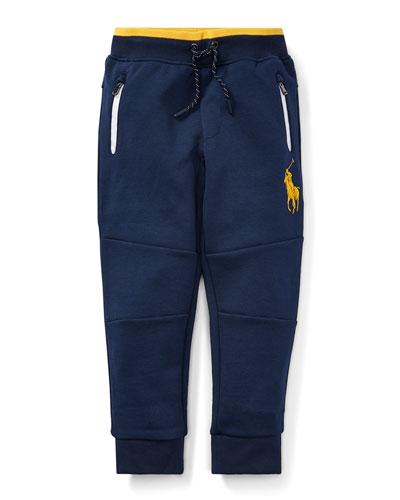 Logo-Embroidered Drawstring Sweatpants, Size 5-7