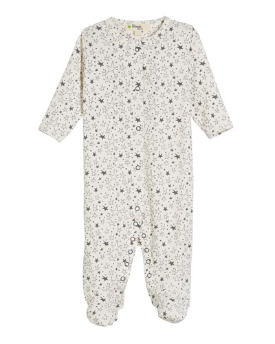 Star-Print Jersey Footie Pajamas, Size 0-6 Months
