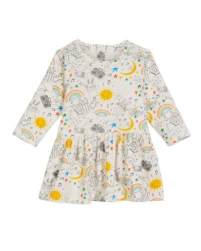 Boogie Magic-Print Long-Sleeve Dress, Size 6-24 Months