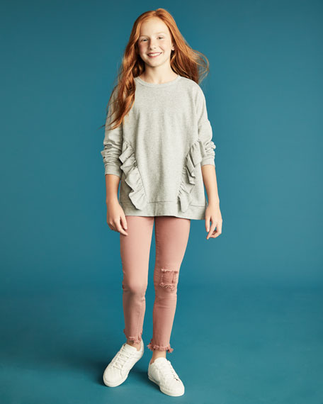 Wren Distressed Chewed-Hem Skinny Jeans, Size 7-16