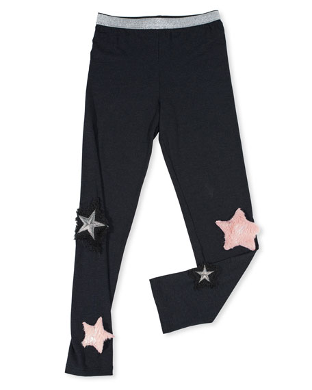 Hannah Banana Stretch Leggings w/ Faux-Fur Star Patches,