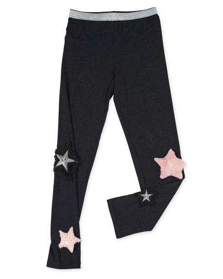 Hannah Banana Stretch Leggings w/ Faux-Fur Star Patches,