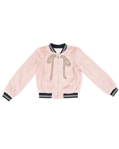 Faux-Fur Bomber Jacket w/ Crystal Bow Applique, Size 4-6X