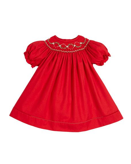 Luli & Me Smocked Bishop Puffy-Sleeve Dress, Size
