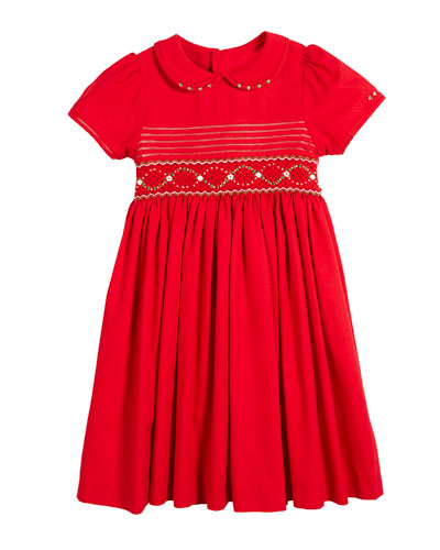 Peter Pan-Collar Smocked Bishop Dress, Size 5-6X