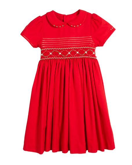 Luli & Me Peter Pan-Collar Smocked Bishop Dress,
