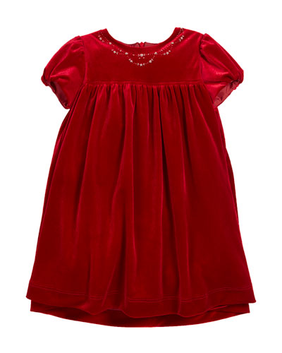 Velvet Floral Embroidered Puffy-Sleeve Dress, Size 2-6X