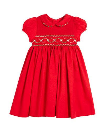 Half Smocked Puffy-Sleeve Bishop Dress, 2-4T
